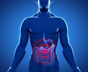 Silhouette junges Mannes mit Magen-Darm-Trakt